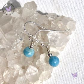 Classical Larimar Silver Earrings